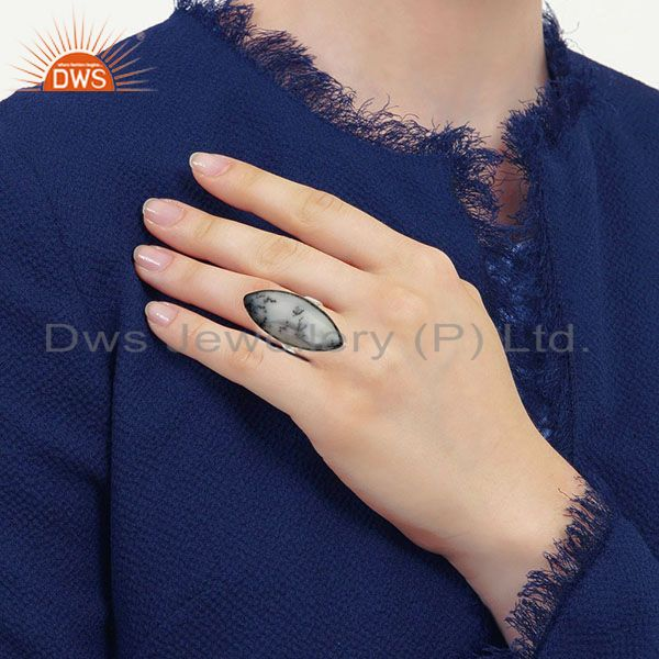 Best Selling Black Oxidized Solid 925 Sterling Silver Dendritic Opal Unique Statement Ring