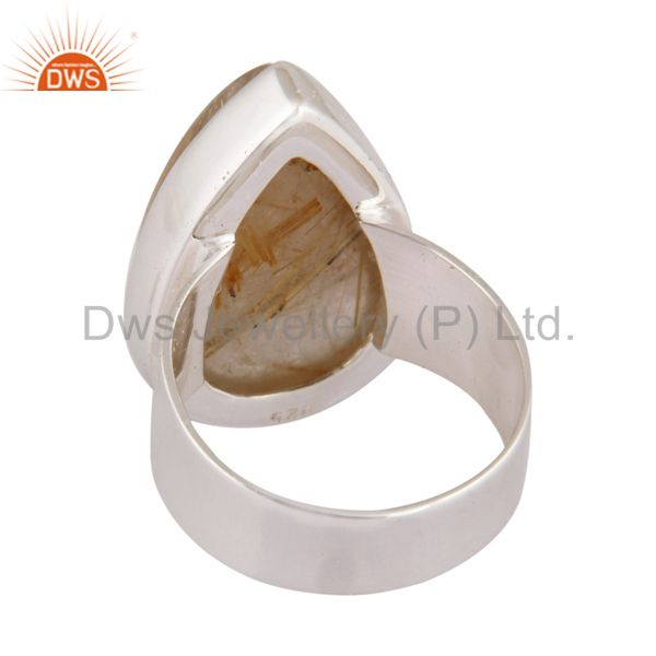 Best Selling Solid 925 Sterling Silver Rutilated Quartz Gemstone Handmade Ring Jewelry
