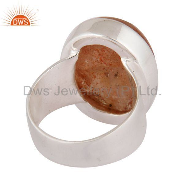 Best Selling Natural Sunstone Cabochon 925 Sterling Silver Fine Gemstone Ring Jewelry
