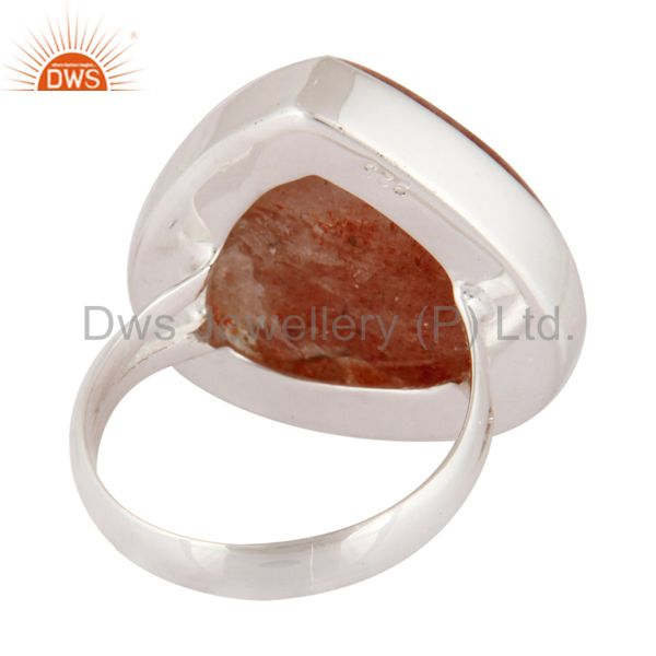 Top Selling Indian Handcrafted 925 Sterling Silver Genuine Sunstone Gemstone Ring