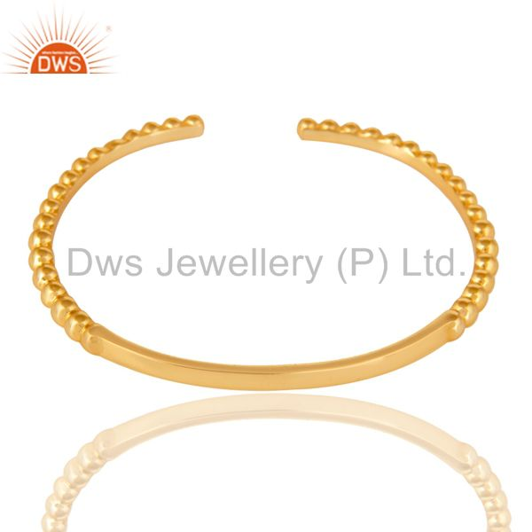 Indian Handmade 14K Yellow Gold Plated Traditional Handmade Openable Brass Cuff Bangle