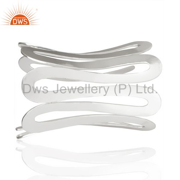 Indian Handmade Hammered Silver Plated Large Designer Boutique Trendy Fashion Jewelry Cuff