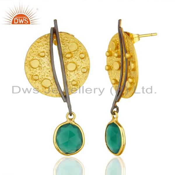 Gold Plated Texture Designer Boutique Green Onyx Fashion Earrings From Jaipur India
