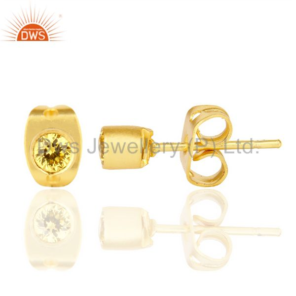 Yellow Zircon Tiny 3MM Post 14 K Gold Plated Fashion Earring,Quete Earring From Jaipur India