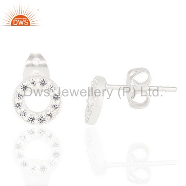 White Cz Circle Post Silver Plated Fashion Earring From Jaipur India