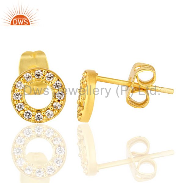 White Cz Circle Post 14 K Gold Plated Fashion Earring From Jaipur India