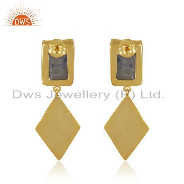 Top Quality White Druzy Gold Plated Handcrafted Brass Fashion Earrings