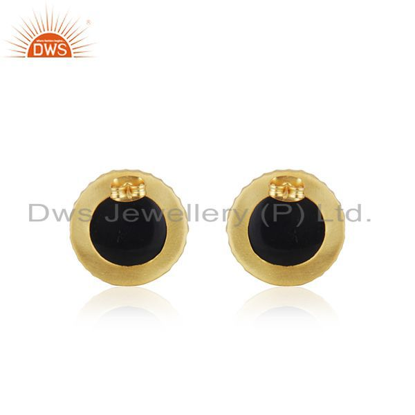 Top Quality Black Onyx Gemstone Gold Plated Brass Fashion Stud Earrings for Girls