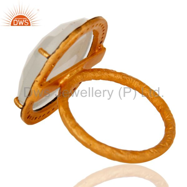 Top Selling Designer White Moonstone Ring With CZ in 18kt Gold Over brass jewellery
