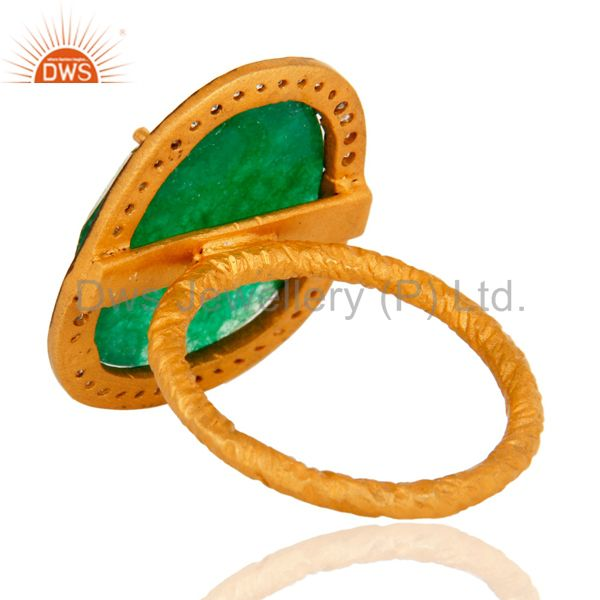 Top Selling Natural Green Aventurine Gemstone Gold Plated over brass Ring With CZ