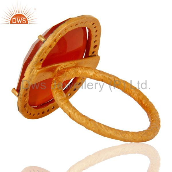 Best Selling Handmade 22K Yellow Gold Vermeil Natural Red Onyx Faceted Gemstone Ring With CZ