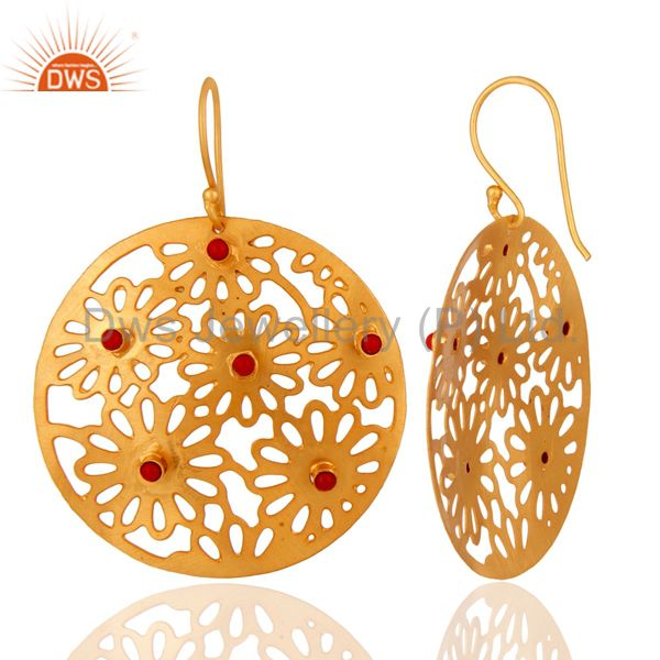 Handmade Sterling Silver Filigree 24K Gold Plated Red Coral Designer Earrings From Jaipur India