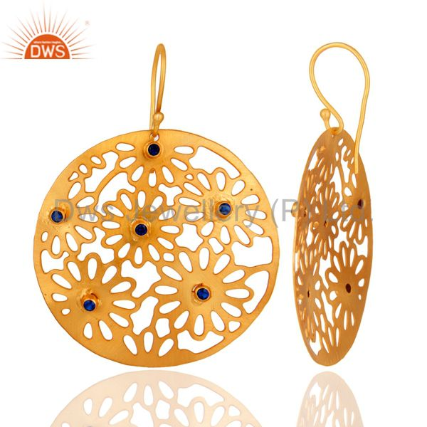 Handmade 14K Yellow Gold Plated Blue Cubic Zircon Filigree Design Hook Earring From Jaipur India