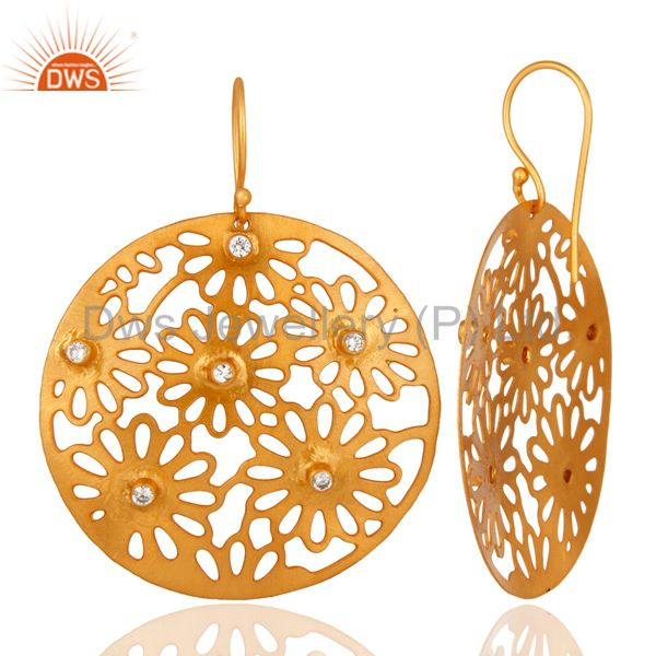 14K Yellow Gold Plated White Cubic Zircon Unique Filigree Designer Earrings From Jaipur India