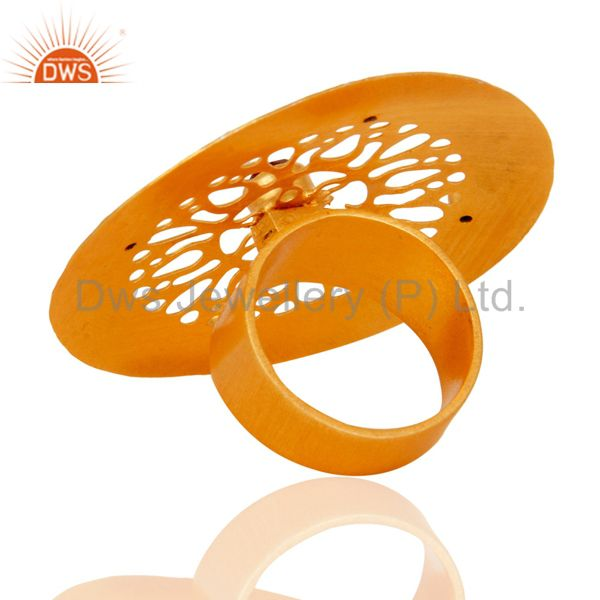 Top Quality Yellow Gold Plated Red Aventurine & White Zircon Indian Artisan Handcrafted Ring
