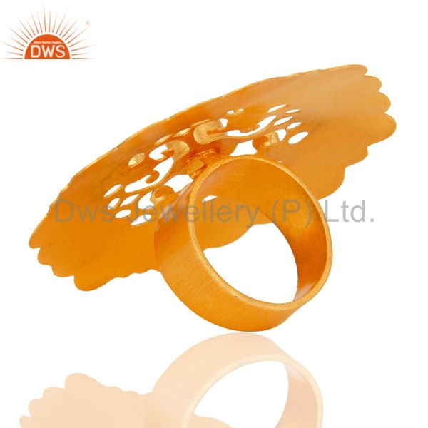 Best Quality Red Aventurine Gemstone 18K Yellow Gold Plated Designer Cocktail Ring With CZ