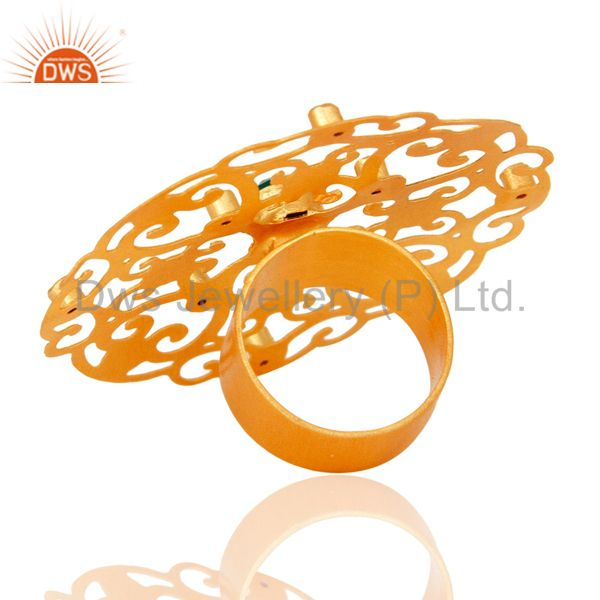Best Selling 18k Yellow Gold Plated Large Round Filigree Modern Womens Party Wear Rings