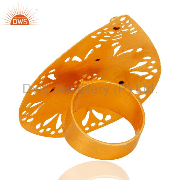 Best Selling Artisan Handcrafted 24K Gold Plated Aventurine & Cubic Zirconia Fashion Ring