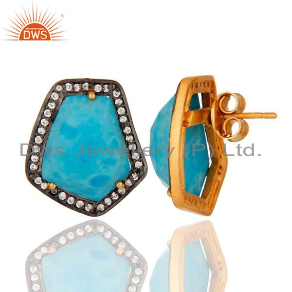 Turquoise Gemstone Stud Earring Made 18k Gold Over Sterling Silver With Zircon From Jaipur India