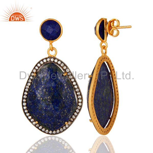 Natural Lapis Lazuli Gemstone And Cubic Zircon Drop Earrings - Gold Plated From Jaipur India