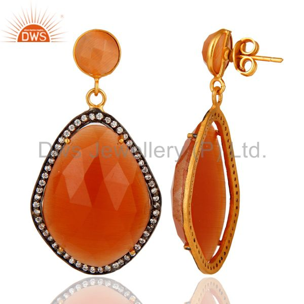 Faceted Peach Moonstone And CZ 24K Yellow Gold Plated Designer Earrings From Jaipur India