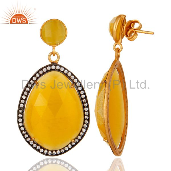 Designer Yellow Moonstone Fashion Gemstone Earrings With CZ in 18K Gold On Brass From Jaipur India