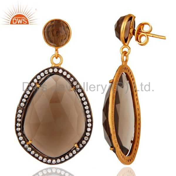 Smoky Quartz Prong Designer Gemstone Earrings In 22K Gold Over Brass Jewelry From Jaipur India