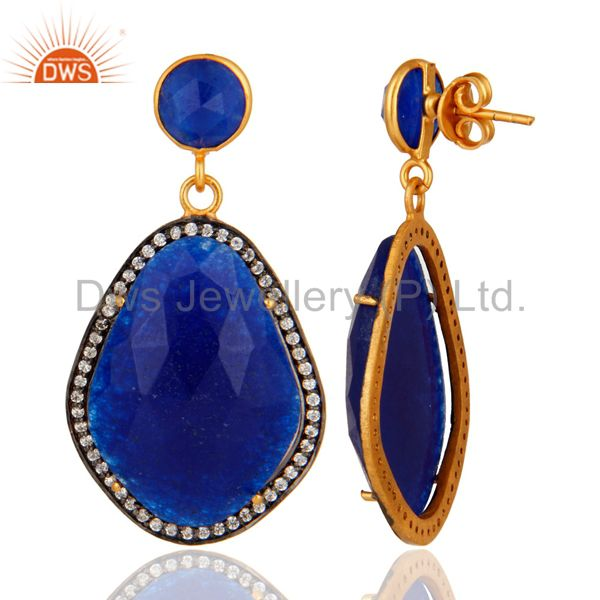 Pave CZ & Blue Aventurine Gemstone Beautiful Designer Earrings With Gold Plated From Jaipur India