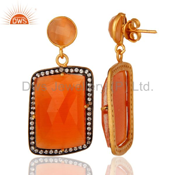 Peach Moonstone Prong Gemstone Earrings With CZ in 14K Yellow Gold Plated From Jaipur India