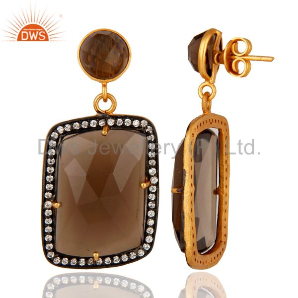 Smoky Quartz Gemstone Designer Earrings With CZ Made In 18K Gold Over Brass From Jaipur India
