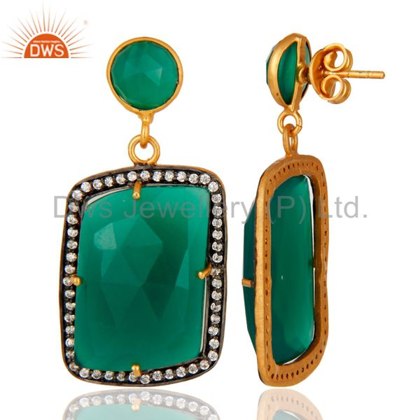 Faceted Green Onyx Gemstone Earrings With CZ In 18K Gold Over Brass Jewelry From Jaipur India