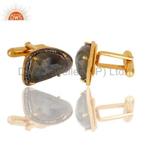 Indian Manufacturer of Blue SApphire Gemstone Pave Diamond Gold Plated Sterling Silver Cufflinks