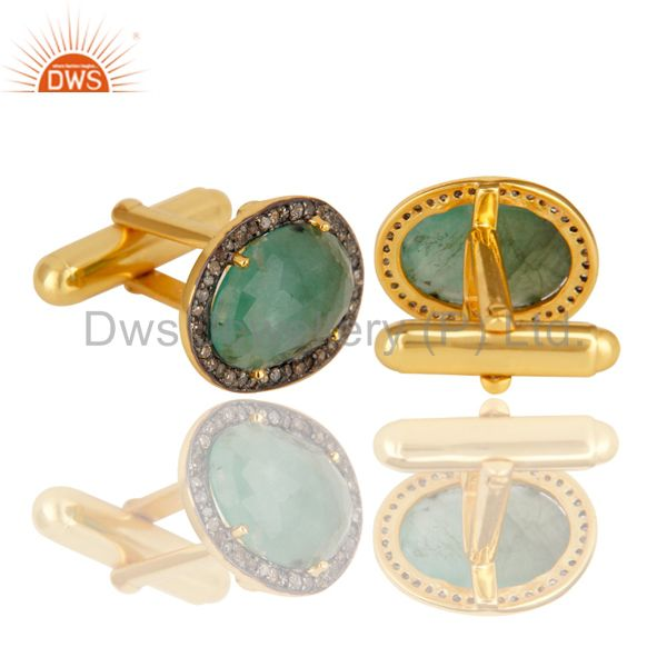 Indian Supplier of Emerald Gemstone 925 Sterling Silver Cufflinks Diamond Pave Finding Fine Jewelry