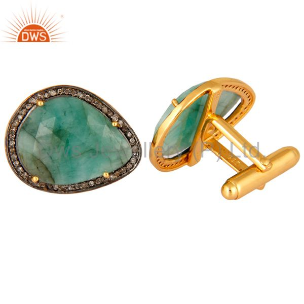 Indian Supplier of 925 Sterling Silver Emerald Diamond Accent Gemstone Cufflinks Mens Gift Jewelry