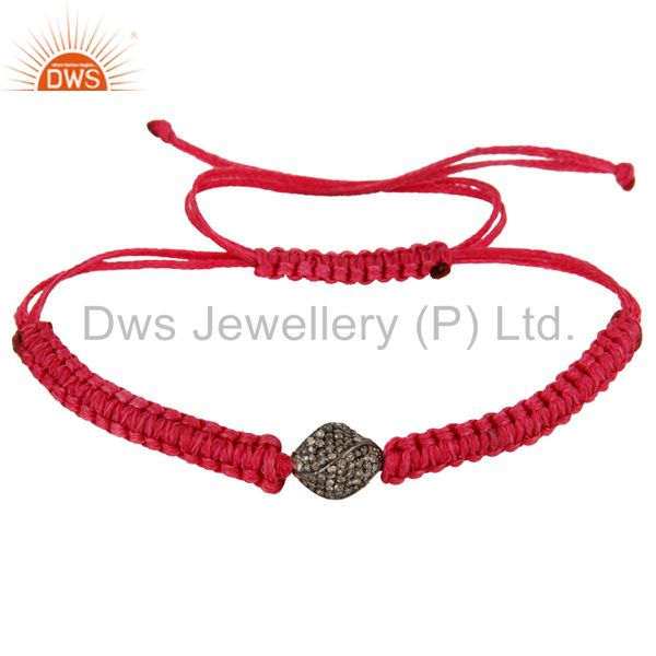 Indian Manufacturer of Pave Diamond 925 Sterling Silver Bead Macrame Bracelets Perfect Gift Jewelry