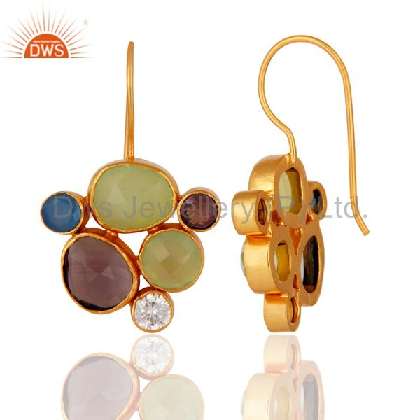 24K Yellow Gold Plated Brass Aqua Chalcedony And Hydro Amethyst Earrings From Jaipur India