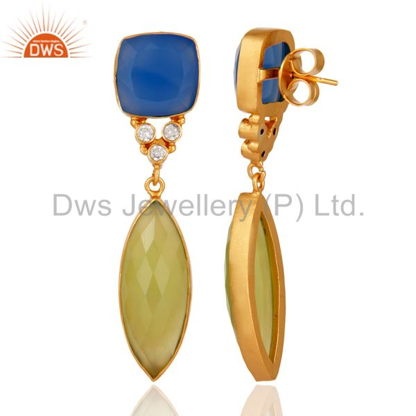 18K Yellow Gold Plated Blue Chalcedony Bezel Fashion Earrings With CZ From Jaipur India