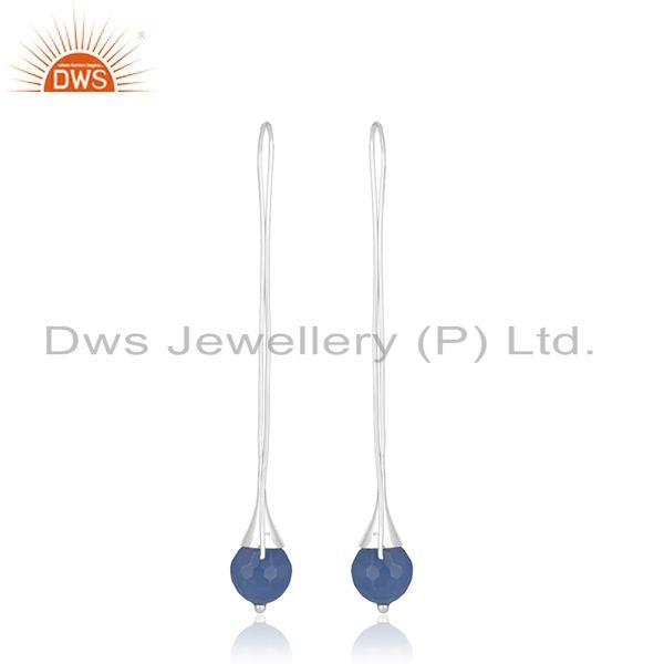 Best Quality Blue Chalcedony Gemstone Handmade Fine Sterling Silver Girls Earrings