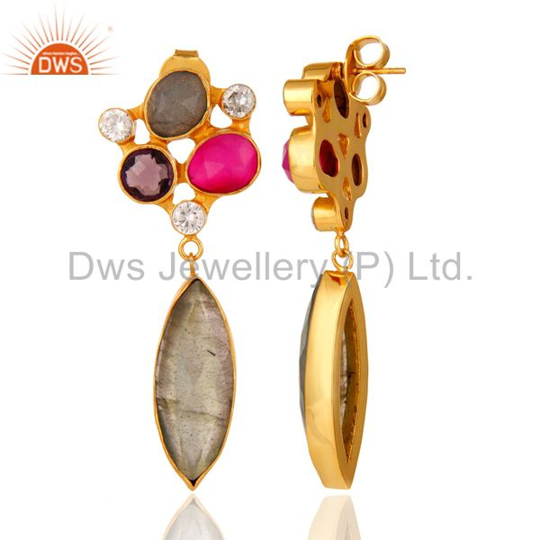 24K Gold Plated Labradorite And Amethyst Designer Earrings With CZ From Jaipur India