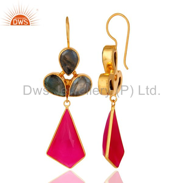 24K Gold Plated Labradorite And Dyed Chalcedony Handmade Earrings From Jaipur India