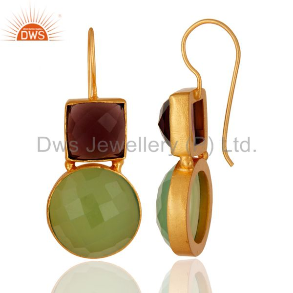 22K Yellow Gold Plated Brass Green Chalcedony And Hydro Amethyst Earrings From Jaipur India