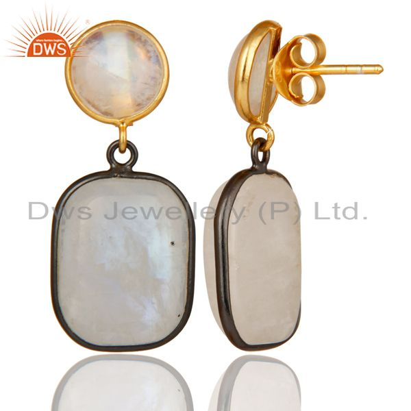 18K Gold Plated & Black Oxidized Sterling Silver Rainbow Moonstone Drops Earring From Jaipur India