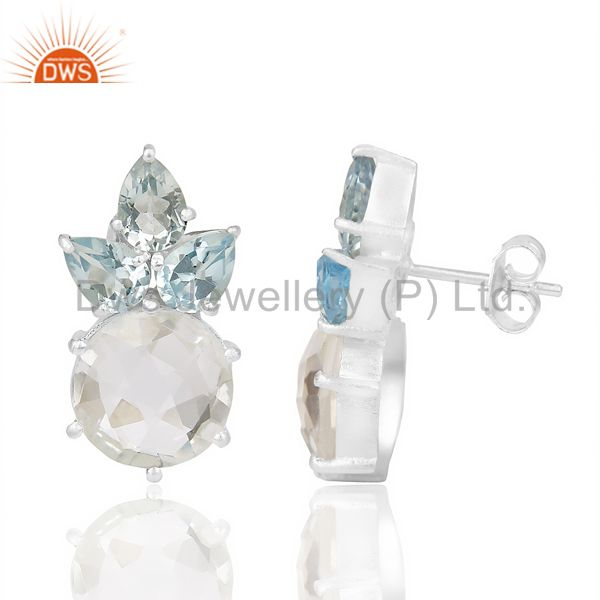 Natural Blue Topaz And Crystal Large Stud 92.5 Sterling Silver Earring From Jaipur India