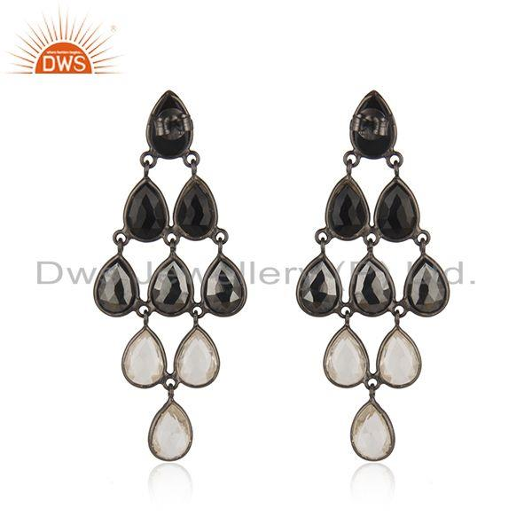 Genuine Handmade Black Rhodium Plated Sterling Silver Multi Gemstone Earrings