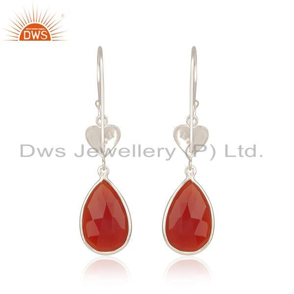 Genuine Red Onyx Gemstone Designer Fine Sterling Silver Womens Earrings