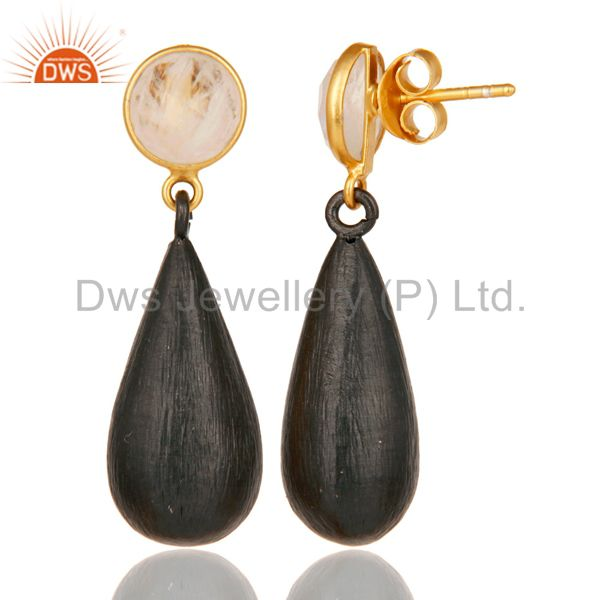 22K Gold Plated & Black Oxidized 925 Sterling Silver Moonstone Teardrop Earrings From Jaipur India