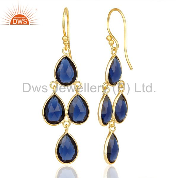 Blue Corrundum 4 Drop Earring 14 K Gold Plated 92.5 Silver Earring From Jaipur India