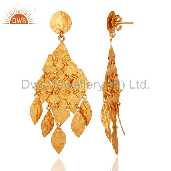 18K Yellow Gold Plated Sterling Silver Petals Designer Chandelier Earrings