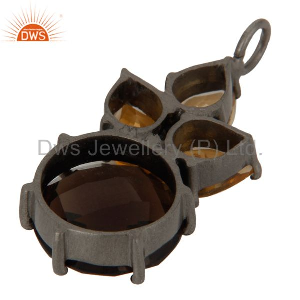 Manufacturer of Smoky Quartz And Citrine Cluster Gemstone Pendant In Oxidized Sterling Silver In India
