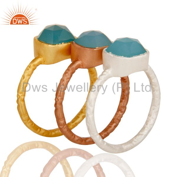 Top Quality 18K Gold Plated Sterling Silver Aqua Chalcedony Gemstone Stacking Ring 3 Pcs Set